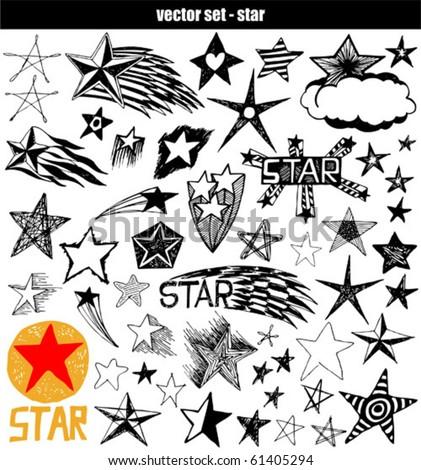 vector set - doodles - star - stock vector
