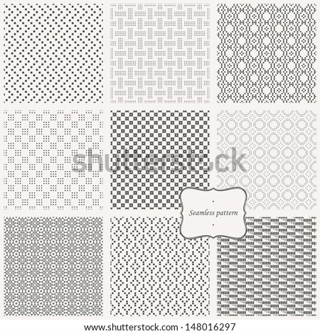 Vector set- eamless pattern ( pixel style ) - stock vector