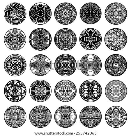 Vector set ethnic circle reminiscent of the Mayan ornament. - stock vector
