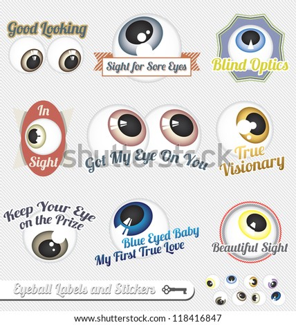 Vector Set: Eyeball Labels and Icons - stock vector