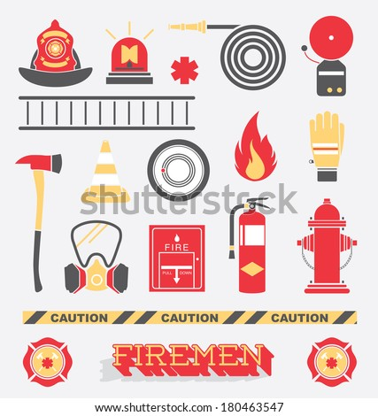 Vector Set: Firefighter Flat Icons and Symbols - stock vector