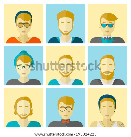 Vector set flat design icons. Stylish handsome hipster boys in modern and creative style. Website avatar symbols. Woman web media icons collection. - stock vector