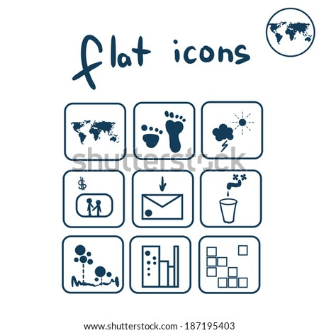 Vector set flat icons for design - stock vector