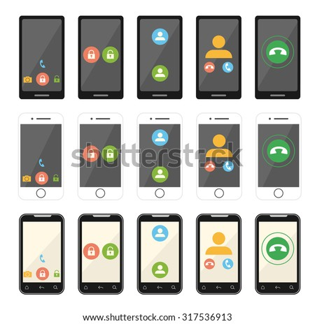 Vector set flat icons of phones. EPS 10. - stock vector