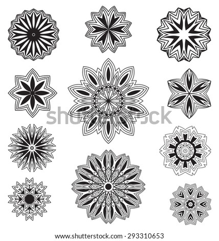 Vector set floral ornament pattern various shapes - stock vector