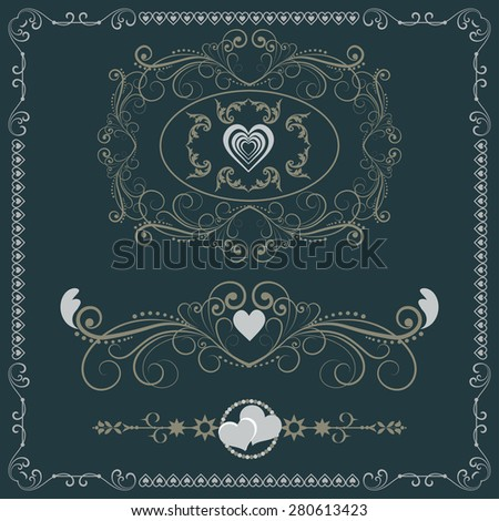 Vector set for Wedding. Decorative elements. Retro design. Vintage Style - stock vector