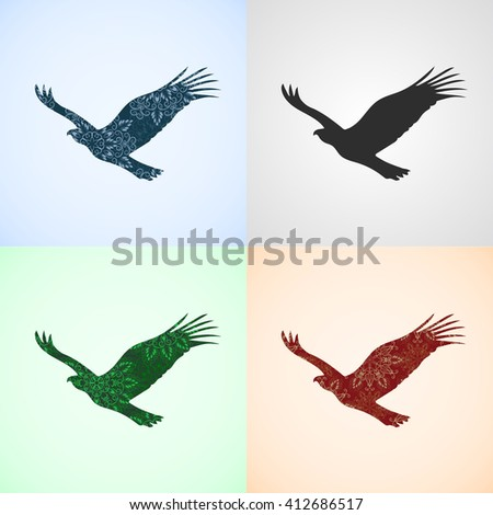 Vector Set from Eagle with Mandala Patterns, Elements for logo, banners, flyers, posters, printing on T-shirts. Three different mandala patterns are in swatches panel. - stock vector