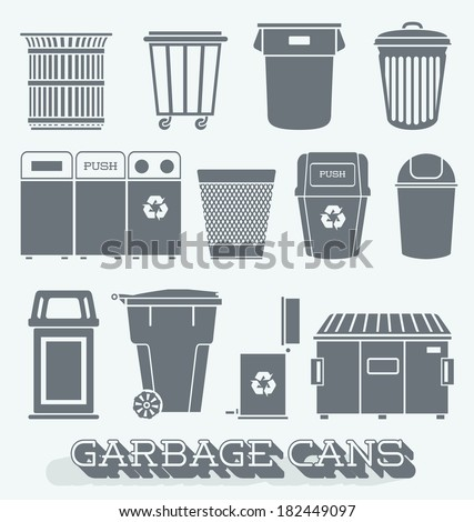 Vector Set: Garbage Cans and Recycling Bins - stock vector