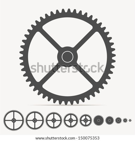 Vector set - gears. Gears totally compatible each other - stock vector