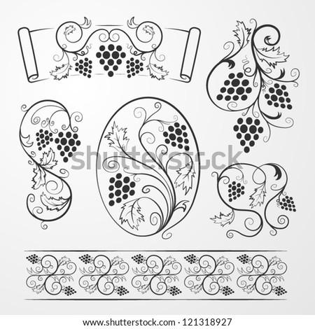 Vector set: Grapevine decorations for your design - stock vector