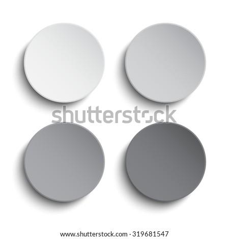 Vector. Set grey circles button on white background. - stock vector