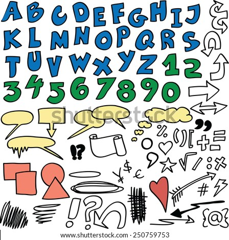 Vector set - Hand drawn numbers, alphabet, symbols and signs - stock vector