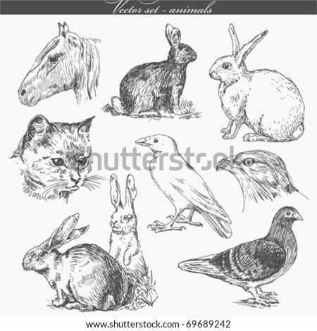vector set - handwork - animals - stock vector