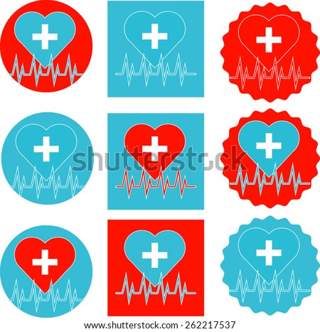 vector set heart with heartbeat on different background - stock vector