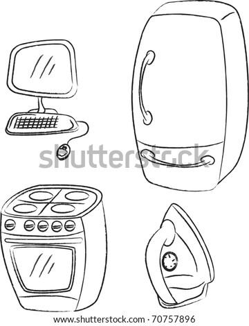 vector set home appliances - stock vector