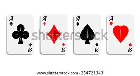 Vector. Set icon aces wish designer card suits symbol isolated on white background. - stock vector