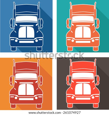 vector set icons heavy truck automobile service for trade or tire business - stock vector