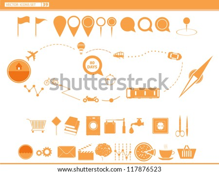 Vector set icons modes of transport. navigation pins. - stock vector
