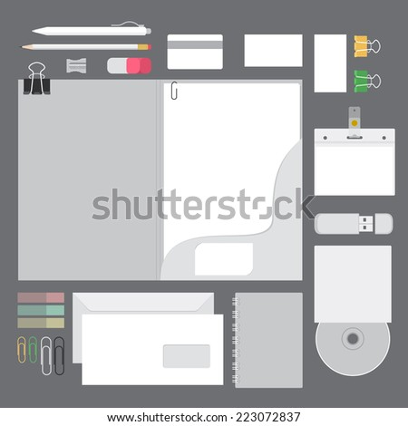 vector set identity with stationery and writing instruments flat design mock up - stock vector