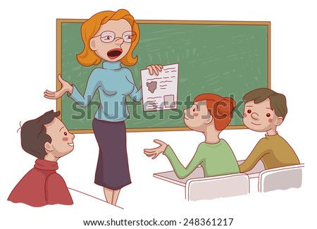 Vector set if the cartoon characters: Kids sitting in the classroom and their teacher explaining the lesson - stock vector