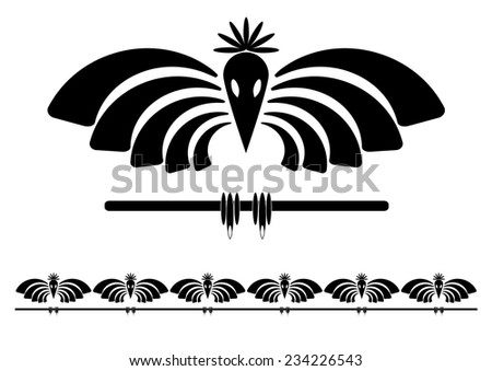 vector set  illustration of stylized raven in black and white color - stock vector