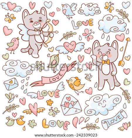 Vector set in doodle style for Valentine's Day. Cupid cat with a bow, cupid cat with a harp, birds, hearts, clouds and other elements. - stock vector