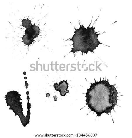 Vector set: ink blots - stock vector
