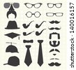 Vector Set: Mustache, Hats, and Accesories - stock vector