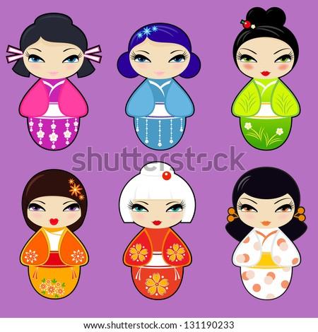 Vector set N 1 of cute kokeshi dolls - stock vector