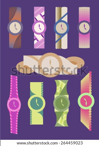 Vector Set: Nine Colorful Wrist Watches - stock vector