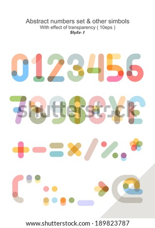 Vector set - Numbers & other simbols ( eps 10 ) - stock vector