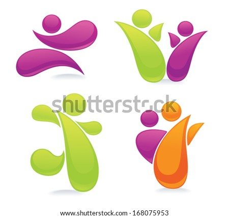 vector set of abstract, active people, family, friends and happiness - stock vector