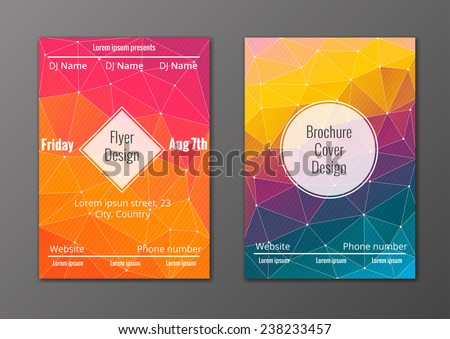 Vector set of abstract brochure and flyer covers in polygonal style  - stock vector