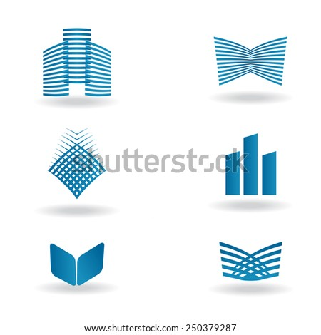 Vector set of abstract business & technology logo in blue colors - stock vector