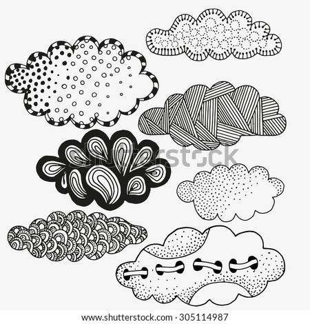 Vector set of abstract clouds. Artistically clouds. Made by trace from sketch. Ink pen. Black and white background. Zentangle patters. Black and white pattern in vector. doodle, henna. Tribal. - stock vector