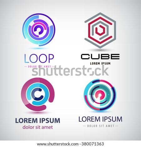 Vector set of abstract colorful loop logos, circle logos, web logos, icons isolated - stock vector