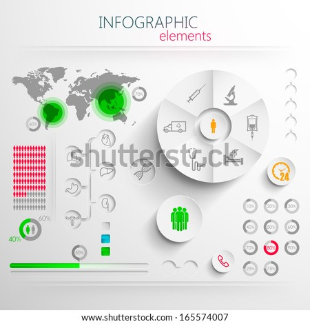 vector set of abstract 3d paper infographic elements with medical signs for print or web design  - stock vector