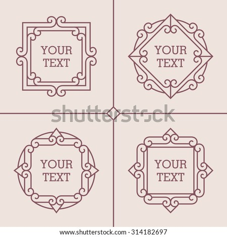 Vector set of abstract mono line frames on light background. Can be used for greeting cards design, logo templates, monograms, emblems and badges in retro or hipster style.  - stock vector