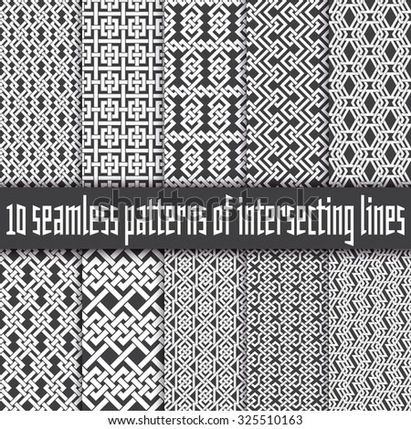 Vector set of abstract seamless patterns. Ten swatches of white lines on black backgrounds. - stock vector
