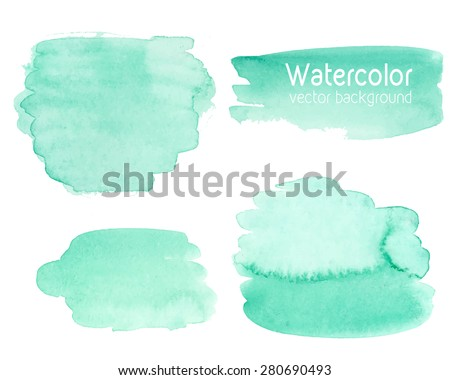 Vector set of abstract watercolor background with paper texture. Hand drawn mint watercolor stains on wet paper. Good for invitations, scrapbooking, banners, tags, labels, etc - stock vector