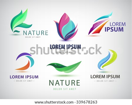 Vector set of abstract wavy logo, spa salon logos, nature icons isolated. Identity. Spa floral  organic logos, eco abstract logos - stock vector