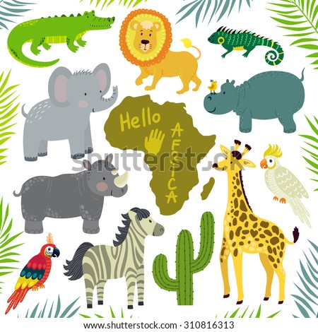 Vector set of african animals: elephant, giraffe, hippo, zebra, crocodile, lion, iguana, rhino, cockatoo parrot, macaw, african continent and floral elements: palm leaves and cactus. Cute zoo. - stock vector