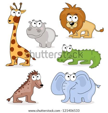 Vector Set of African Cartoon Animals - stock vector