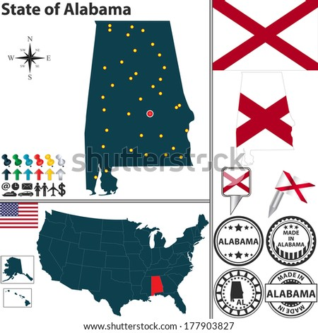 Vector set of Alabama state with flag and icons on white background - stock vector