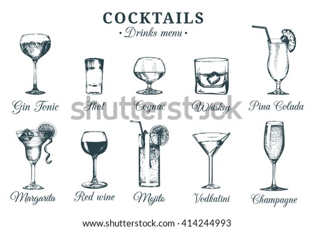 Vector set of alcoholic drinks and cocktails. Drinks menu. Hand sketched alcoholic beverages glasses.Cocktails  and drinks illustrations set. Hand drawn cocktails and drinks. - stock vector