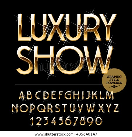 Vector set of alphabet letters, numbers and punctuation symbols.  Gold emblem with text Luxury show - stock vector