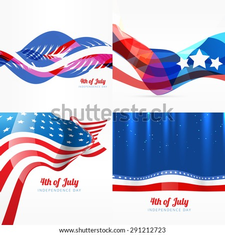 vector set of american independence day background illustration - stock vector