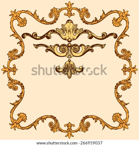 vector set of an ancient gold  ornament on a yellow background - stock vector