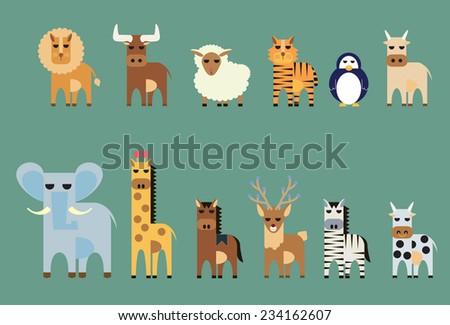 Vector set of animal lion,bull, sheep, tiger, penguin, ox, elephant, giraffe, horse, deer, zebra, cow - stock vector