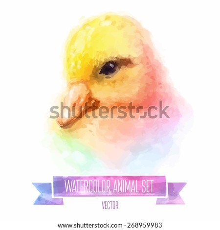 Vector set of animals. duckling hand painted watercolor illustration isolated on white background - stock vector